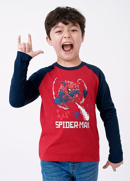 男童蜘蛛人戰鬥拉克蘭長袖T恤
