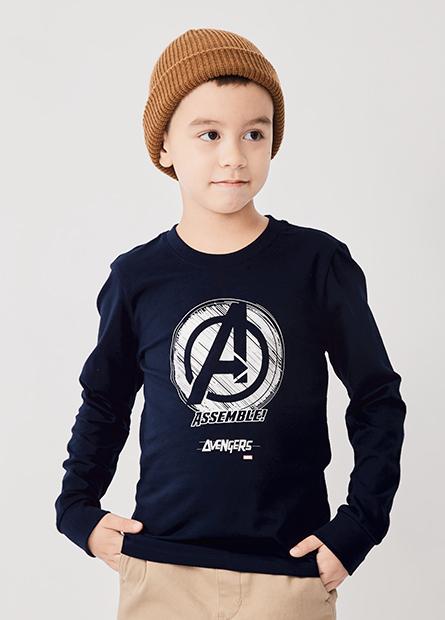 男童復仇者聯盟LOGO長袖T恤