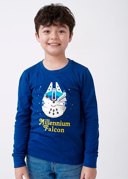男童千年鷹號印花長袖T恤