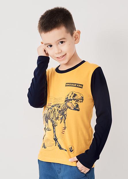 男童暴龍骨架撞色長袖T恤