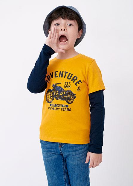 男童摩托車假兩件長袖T恤