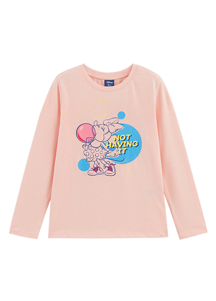 女童米妮圓領長袖T恤