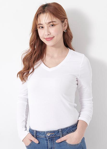 素色V領長袖T恤