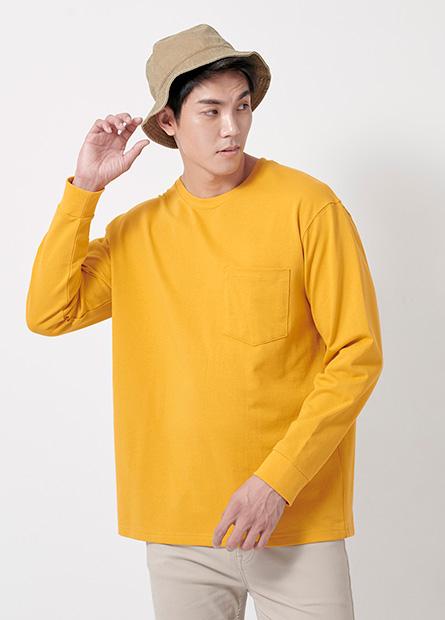 素色單口袋落肩長袖上衣