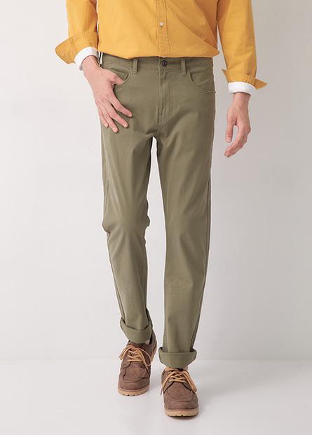 Slim Fit彈性修身直筒休閒褲