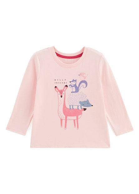 嬰兒森林動物印花長袖T恤