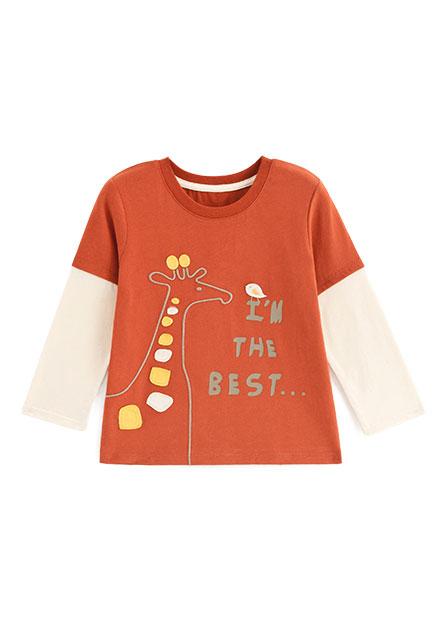 男嬰長頸鹿拼接長袖T恤