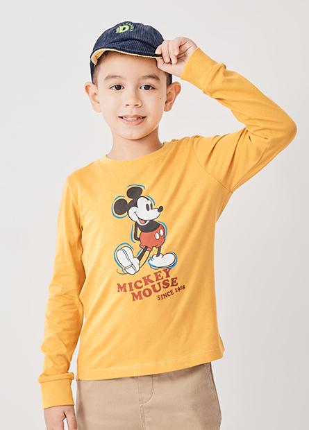 男童經典米奇印花長袖T恤