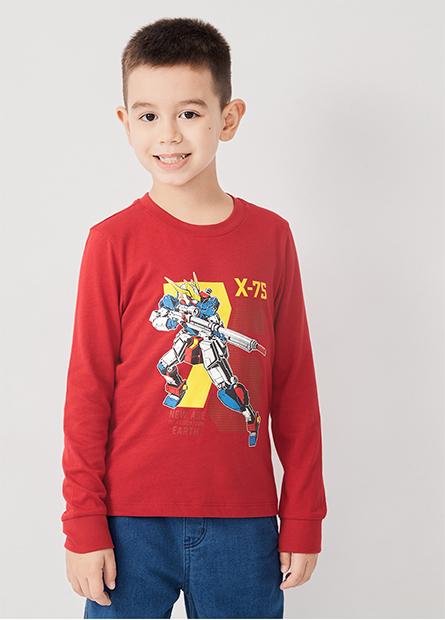 男童機器人印花長袖T恤