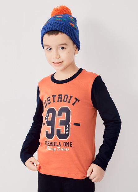 男童底特律印花拼接袖T恤