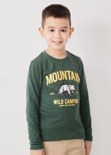 男童森林熊雙層領長袖T恤