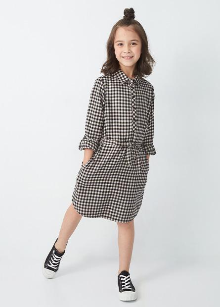 女童襯衫式綁帶洋裝