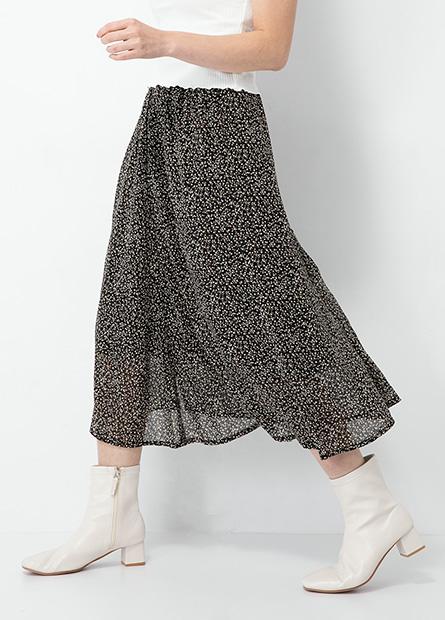 排釦腰鬆緊中長裙