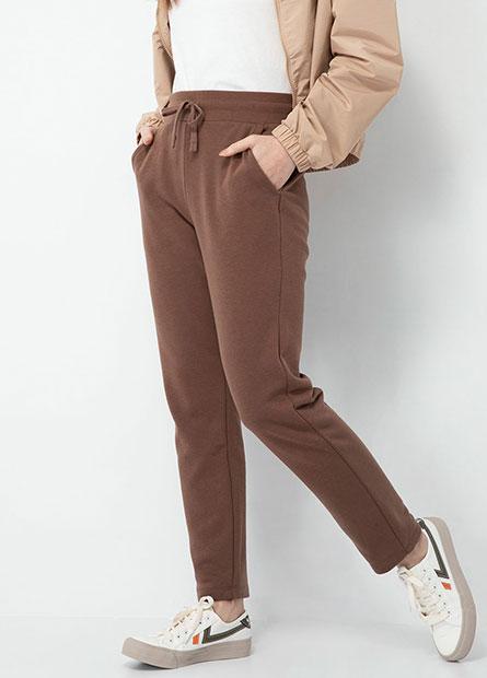素色鬆緊綁帶棉褲