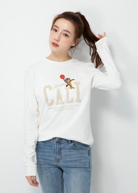 動物運動競技印花長袖T恤