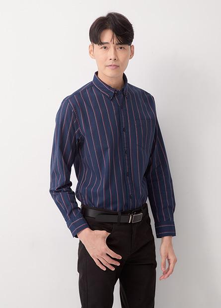 Slim Fit釘釦領長袖襯衫