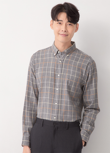 Regular Fit純棉休閒長袖襯衫