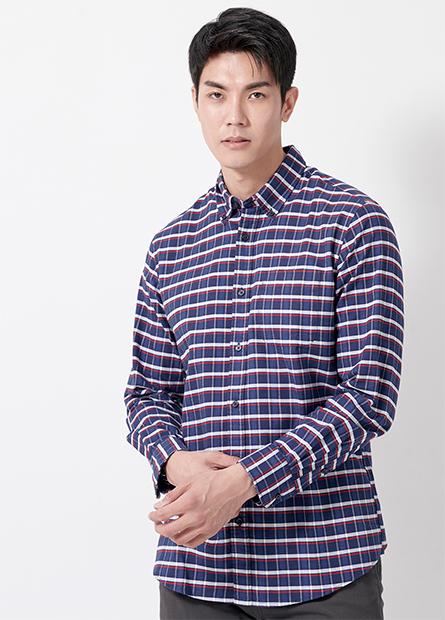 Regular Fit純棉素面長袖襯衫