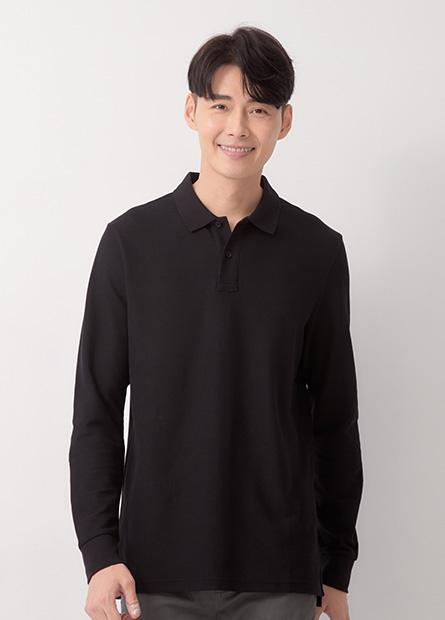 素面長袖Polo衫