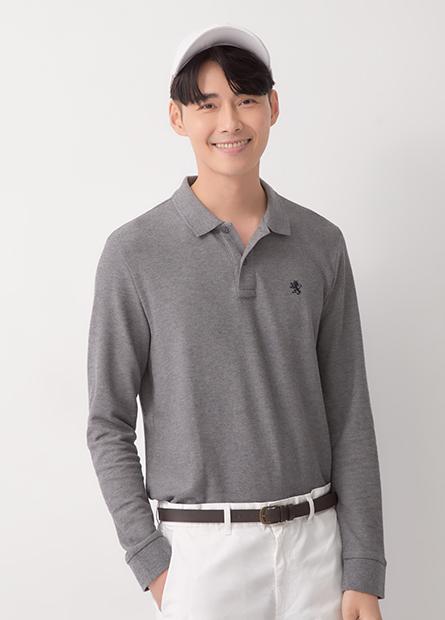小繡獅輕薄長袖Polo衫
