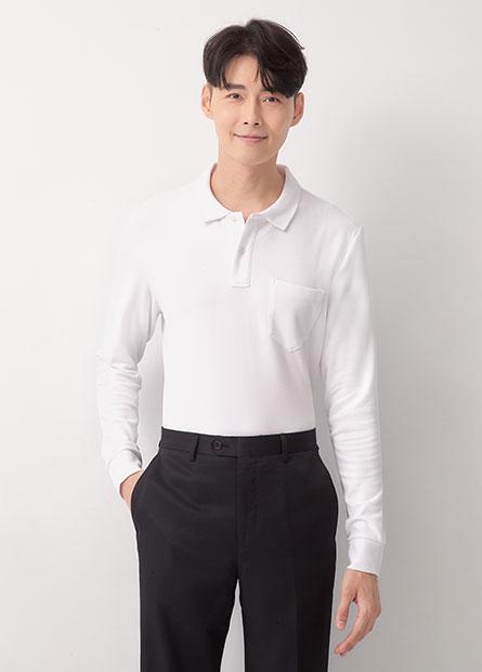 素色單口袋長袖Polo衫