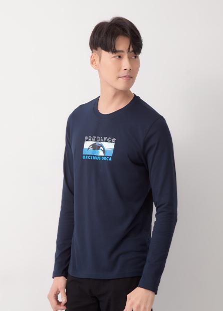 殺人鯨印花長袖T恤