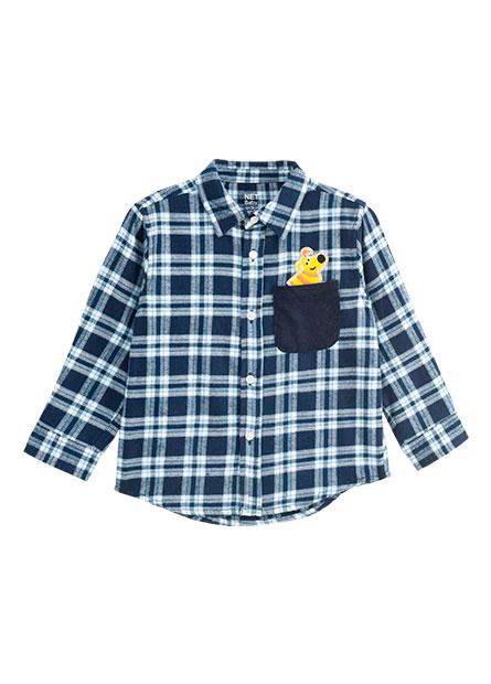 嬰兒格紋單口袋長袖襯衫