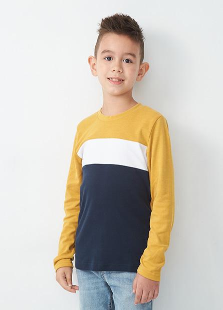 男童拼接條紋長袖T恤