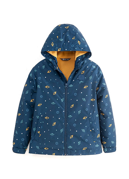 男童星空恐龍火箭印花鋪棉外套