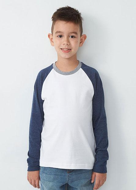 男童拼袖棉質長袖T恤