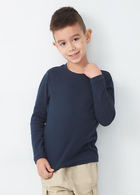 男童素色棉質長袖T恤
