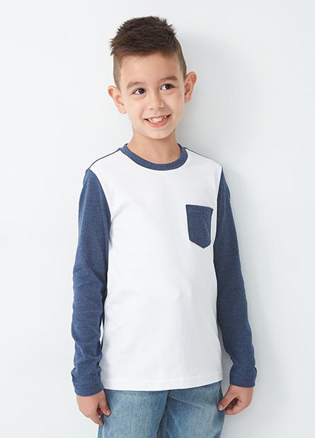 男童拼接口袋長袖T恤