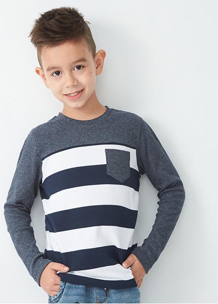 男童口袋條紋長袖T恤