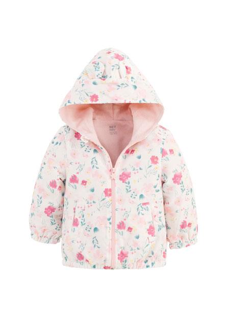 BABY兔帽花卉鋪棉外套