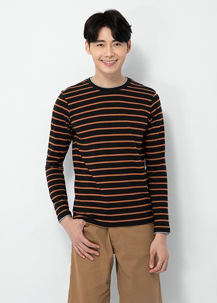 雙層圓領條紋長袖T恤