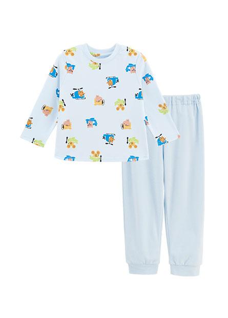 男嬰動物搭飛機印花套裝