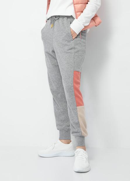 色塊拼接棉質束口褲