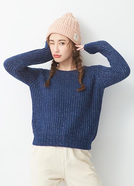 混色線圓領毛衣