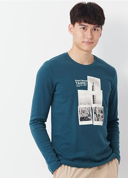 吸溼保暖台北101印花長袖T恤