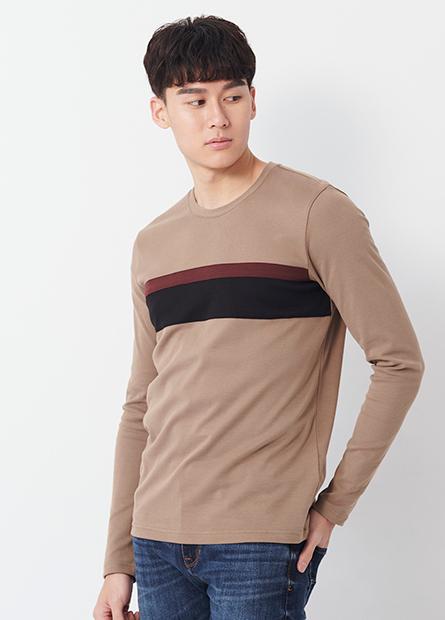 吸溼保暖圓領胸配條長袖T恤