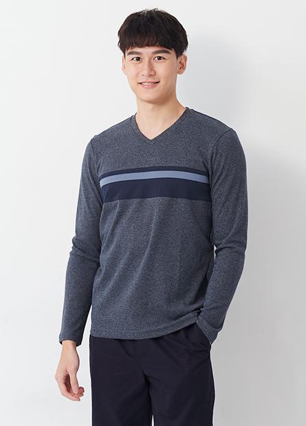 吸溼保暖V領胸配條長袖T恤