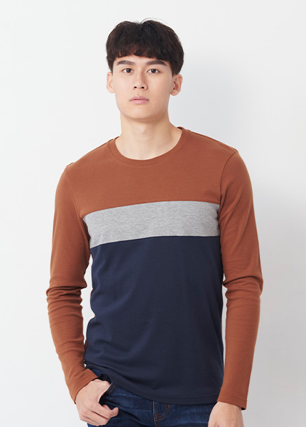 吸溼保暖色塊拼接長袖T恤