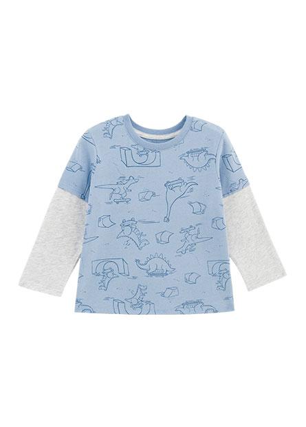 男嬰滿版恐龍印花接袖T恤