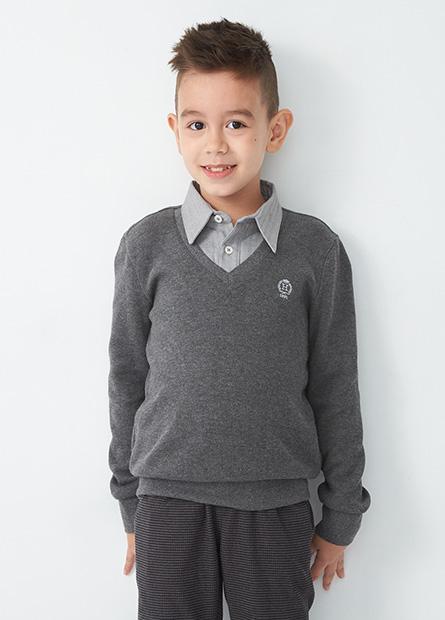 男童假兩件襯衫領羅紋上衣