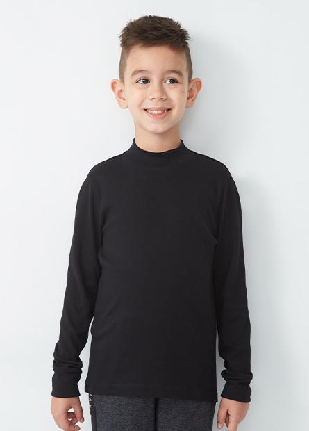 男童吸濕保暖素面立領長袖T恤