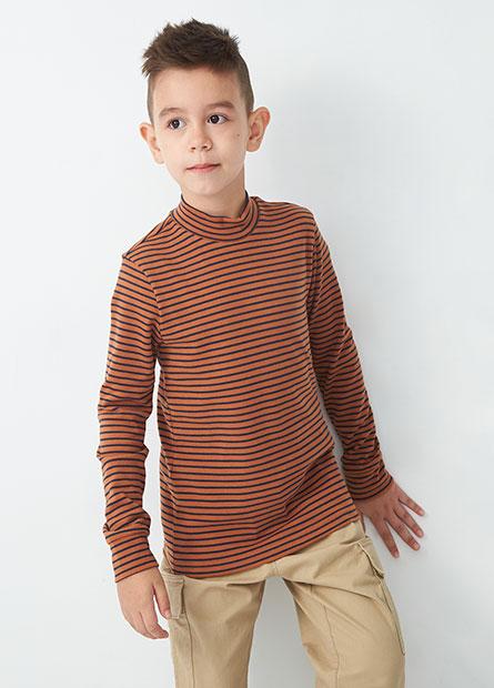 男童吸濕保暖條紋立領長袖T恤