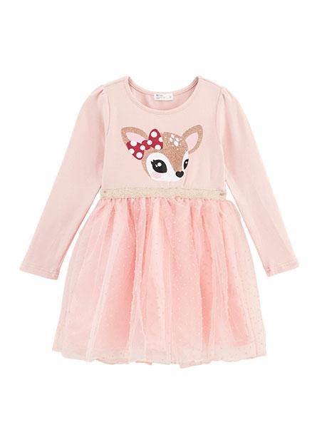 女童小鹿印花紗裙洋裝