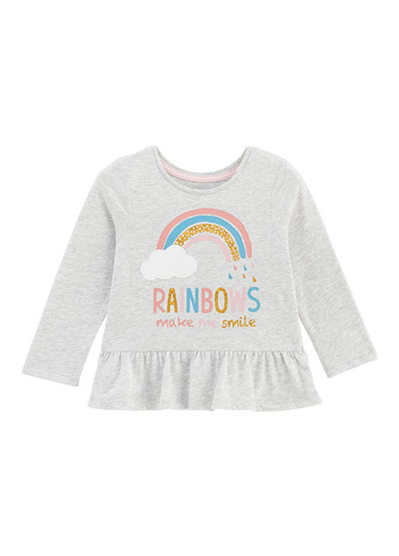 女嬰彩虹印花下擺抽皺上衣