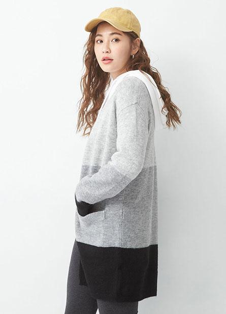 色塊拼接披掛長版毛衣外套