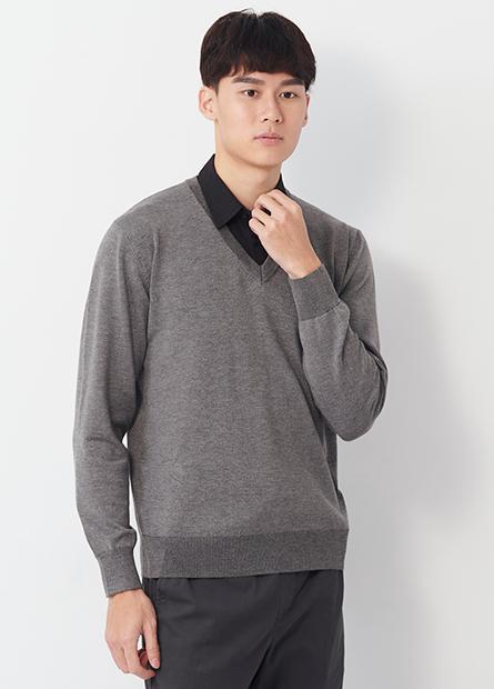 假兩件式襯衫領毛衣